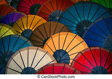 market., colorato, venduto, tradizionale, carta, laos, ombrelli