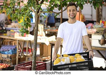 market., eladás, szerves, ügy, növényi, kicsi, utca, gyümölcs, tulajdonos, nyílik