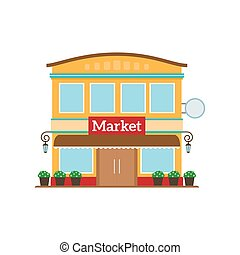 Market flat style icon isolated on white. Vector...
