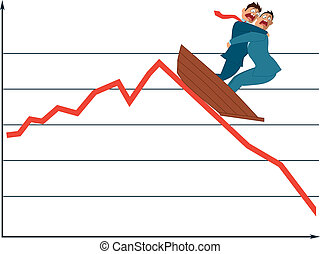 Market fluctuation - Two terrified businessman in a boat ...
