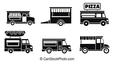 Market food truck icon set, simple style