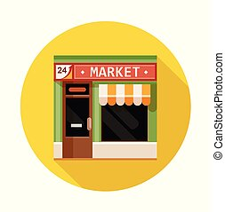 Market front view flat icon, vector illustration