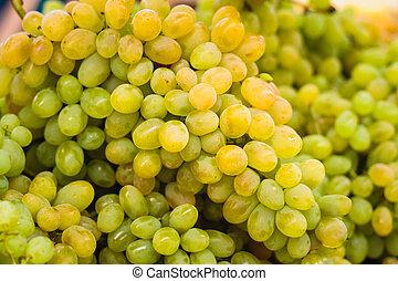 market., fundo, colheita, uvas verdes, fresco, pilha, local