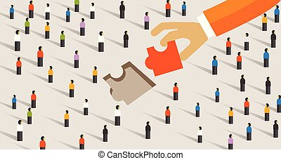 Market gap concept business man holding jigsaw puzzle around people crowd. Find perfect solution team work solving problem for customer.