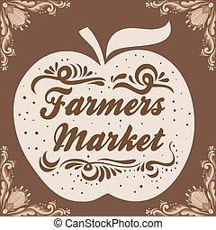 market., gospodarze, poster., graficzny, rocznik wina