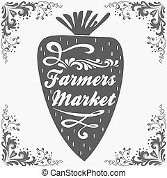 market., granjeros, poster., tipográfico, vendimia