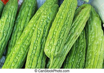 market., groentes, kalebassen, fris