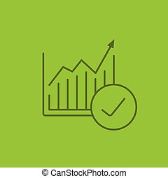 Market growth chart color linear icon