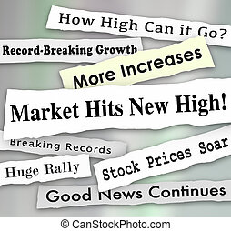 Market Hits New High Newspaper Headlines Illustration