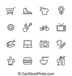 Market icon set, Products