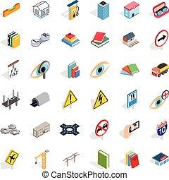 Market icons set, isometric style