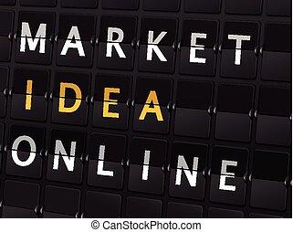 market idea online words on airport board