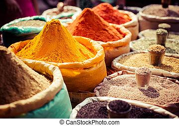market., indien, local, coloré, épices