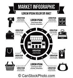 Market infographic concept, flat style