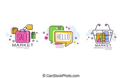 Market Logo Design with Shopping Basket and Purchase Bag Vector Set