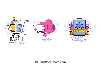 Market Logo Design with Shopping Cart and Purchase Bag Vector Set