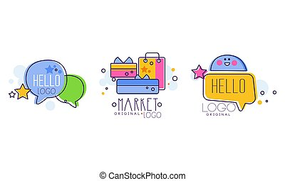 Market Logo Design with Shopping or Purchase Bag and Hello Bubbles Vector Set