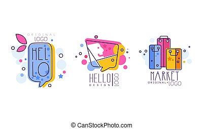 Market Logo Design with Shopping or Purchase Bag Vector Set