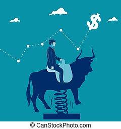 market., métaphore affaires, illustration, vecteur, taureau