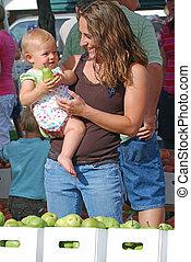 market., madre, figlia, coltivatore