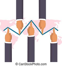 Market manipulation concept in flat style - Businessman hands pushing the prices up and down. Helping the economy concept. Hands pushing the business graph up. Flat style isometric illustration
