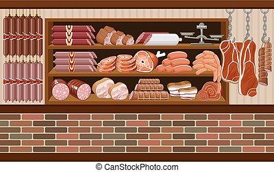 market., mięso