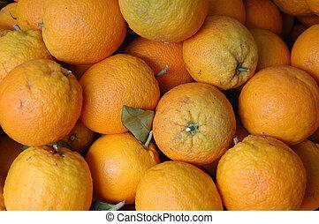market oranges - Oranges on display in a market stall,...