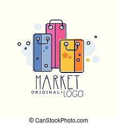 Market original logo template, bright sale badge, design element for shop, sale banner, poster, tag vector Illustration on a white background