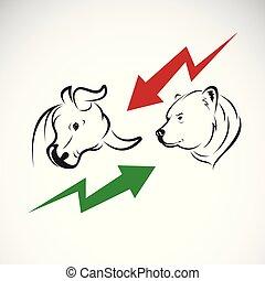 market., ours, animals., symboles, croissant, vecteur, trends., taureau, sauvage, marché baisse, stockage