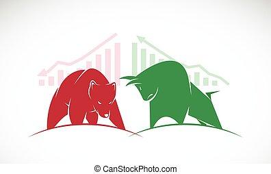 market., ours, symboles, vecteur, trends., taureau, croissant, marché baisse, stockage
