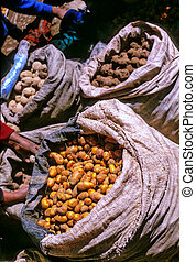 Potatos for sale at the Sunday market in Pisac- Sacred Valley, Peru