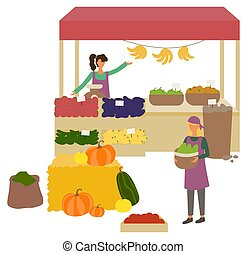 Seller retailing watermelon and melon, bell pepper, cucumber and tomato, banana and apple. Harvester holding bowl with zucchini, market place vector