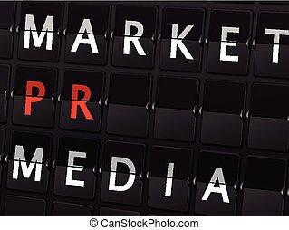 market PR media words on airport board