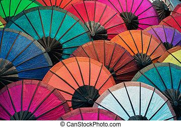 market., prabang, colorito, luang, tradizionale, carta, laos, ombrelli