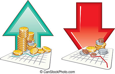 Market Price going up and down, detailed vector icons
