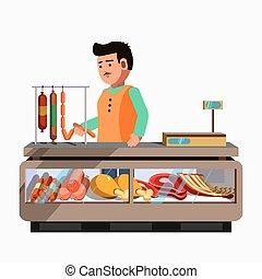 market., prodotto, carne, shop., contatore, macellaio, venditore, bancarella