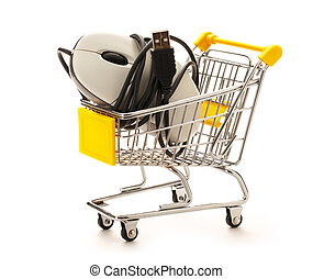 Market pushcart with mouse on white background closeup