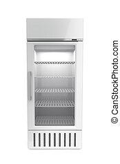 Market refrigerator on white background