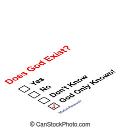 God exist questionnaire - Market research asking does God...