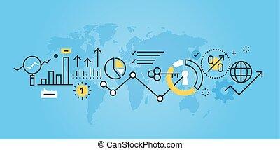 Market research - Flat line design website banner of market ...