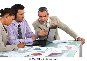 Market researchers working on a project