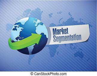 market segmentation sign illustration design world map...