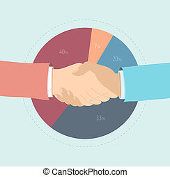 Market share agreement flat illustration