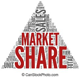Market share concept in tag cloud - Market share of sales...