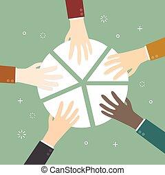 Market share. Hand picking pie chart