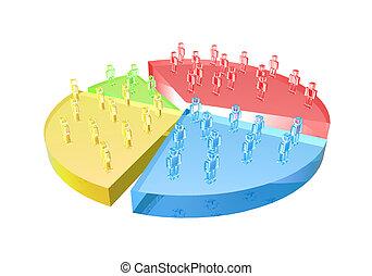Market Share / User base chart. Detailed 3D illustration. ...