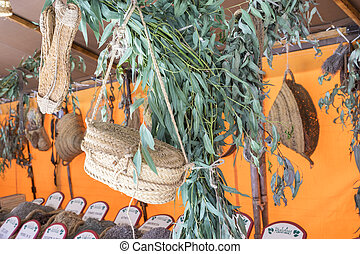 Market, Shop of traditional medicinal herbs, baskets of various spices and condiments for health in a natural way