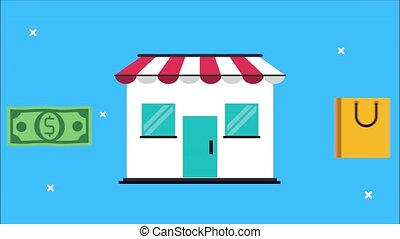 market shopping animation with store building and bag