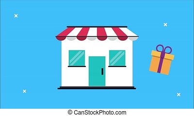 market shopping animation with store building and gift and money