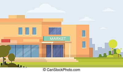 Market Shopping Mall Building Exterior Flat Vector...